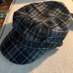 New plaid fall hat scala pronto black gray white